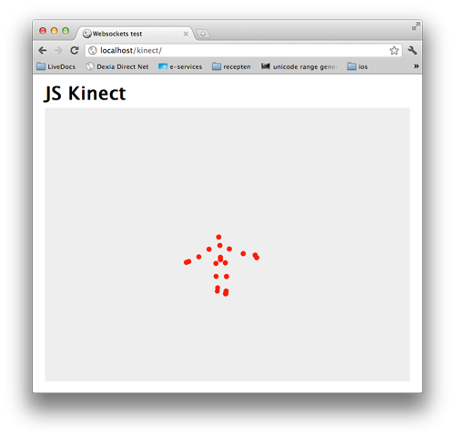 javascript displaying kinect skeleton information